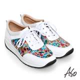 A.S.O 3D超動能 繽紛壓紋牛皮奈米綁帶健走鞋(白)