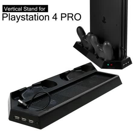 PS4 PRO主機專用直立架含雙手把坐充及散熱風扇黑 (KJHPS4PRO-03)