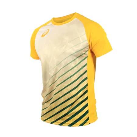 (男) ASICS 排球短袖T恤-短T T恤 慢跑 路跑 亞瑟士 黃綠