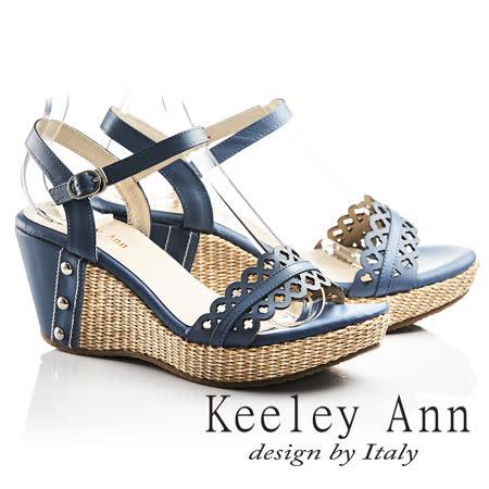 Keeley Ann設計美學~鏤空小花朵編織全真皮楔形涼鞋(藍色732183160)