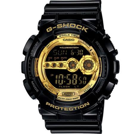 CASIO G-SHOCK 黑金時尚運動錶 GD-100GB-1 黑x金