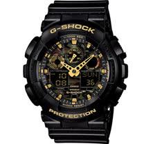 CASIO G-SHOCK 超人氣迷彩指針雙顯錶款 GA-100CF-1A9 黑x迷彩