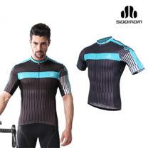 (男) SOOMOM 比利亞短車衣-單車 自行車 速盟 湖水藍黑