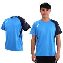 (男) ASICS 排羽球短袖T恤-羽球 排球 練習 亞瑟士 天藍黑