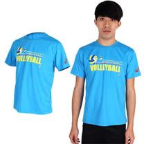 (男) ASICS 排球短袖T恤-圓領 亞瑟士 水藍黃