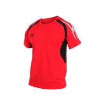 (男) MIZUNO 短袖T恤-短T 慢跑 路跑  美津濃 紅黑