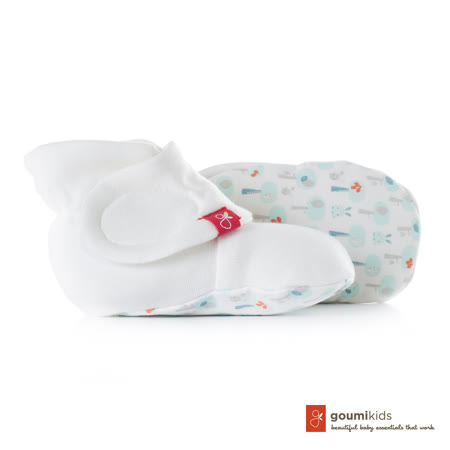 美國 GOUMIKIDS 有機棉嬰兒腳套 (愛心小樹-淺綠)