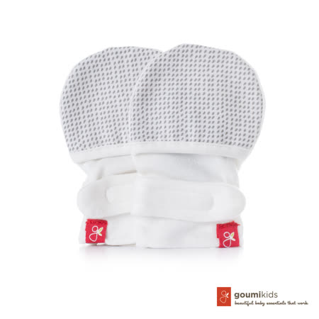 美國 GOUMIKIDS 有機棉嬰兒手套 (點點_淺灰)