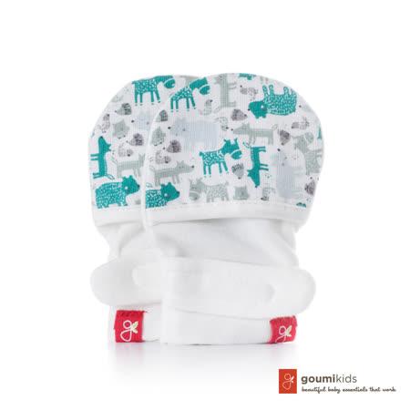 美國 GOUMIKIDS 有機棉嬰兒手套 (叢林動物-淺綠)