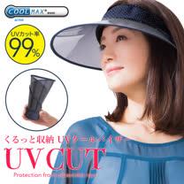 日本涼感<br/>防曬透明長帽簷中空帽