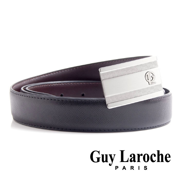 Guy Laroche 姬龍雪~紳士線條細格紋 ~真皮皮帶  銀色