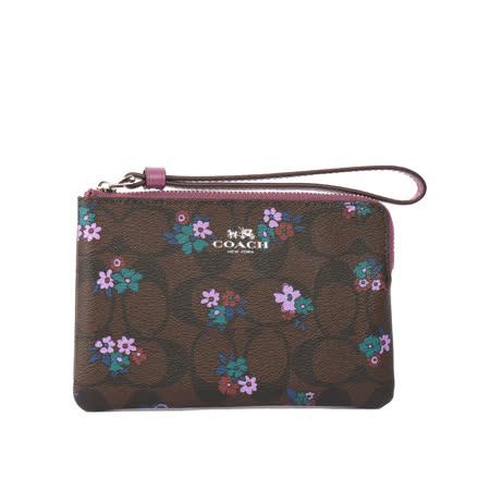 【COACH】PVC 花卉塗鴉 L型拉鍊手拿包(紫色)