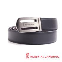 ROBERTA 諾貝達-弧形鏤空造型皮帶-牛皮製 (槍色)