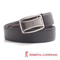 ROBERTA 諾貝達-雙弧形鏤空造型皮帶-牛皮製 (銀/槍雙配色)