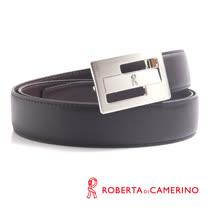 ROBERTA 諾貝達-幾何鏤空造型皮帶-牛皮製 (銀色)