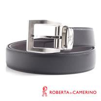 ROBERTA 諾貝達-經典穿針式-真皮皮帶 (銀色)