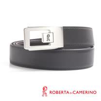 ROBERTA 諾貝達-紳士方形鏤空設計真皮皮帶