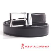 ROBERTA 諾貝達-經典穿針式-線條刻紋設計-真皮皮帶 (銀色)