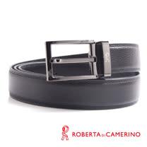 ROBERTA 諾貝達-經典穿針式-線條刻紋設計-真皮皮帶 (槍色)