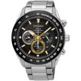 SEIKO精工 Criteria 太陽能計時手錶-黑x金圈/43mm V175-0EE0K(SSC581P1)