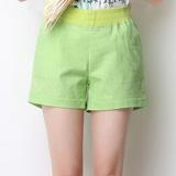 【Stoney.ax】韓版休閒寬邊反折短褲-青檬色