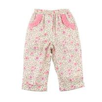 【愛的世界】MYBABY 小熊甜心系列 玫瑰印花刷毛長褲/1~3歲-中國製-