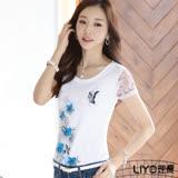 LIYO理優印花拼接蕾絲袖T恤E722010