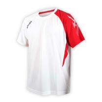 (男) ASICS 排羽球短袖T恤-羽球 排球 練習 亞瑟士 白紅黑 XL