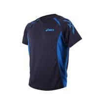 (男) ASICS 運動排汗短袖T恤-慢跑 跑步 亞瑟士 丈青寶藍