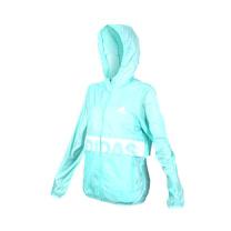(女) ADIDAS 風衣外套-慢跑 路跑 愛迪達 防風 連帽外套 粉綠