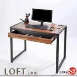 LOGIS邏爵-耐磨工業風桌面附插座工作桌辦公桌 電腦桌 餐桌(長98寬60x高77公分 【MK-98】