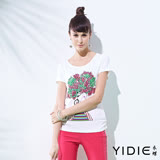 【YIDIE衣蝶】鏤空網紋蕾絲鑽飾女孩上衣
