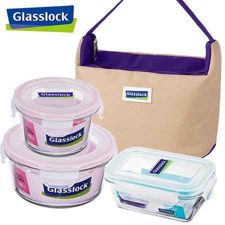 【Glasslock】強化玻璃微波保鮮盒-貼心便當4件組