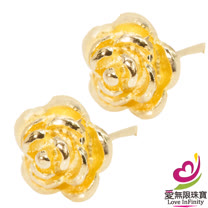 [ 愛無限珠寶金坊 ]  1.16 錢 一對 - 花紛飛 - 黃金耳環-999.9