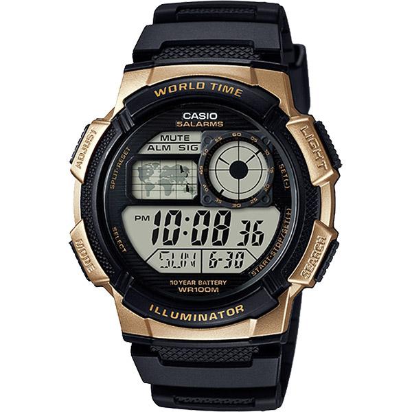 CASIO 卡西歐 10年電力世界時間手錶~金框 AE~1000W~1A3VDF