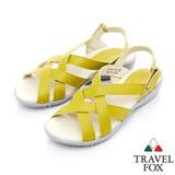 Travel Fox 多彩網紋休閒皮涼鞋-917351-(芥末黃-383)(女)