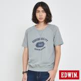 EDWIN 復古大學衛衣短袖T恤-男-麻灰
