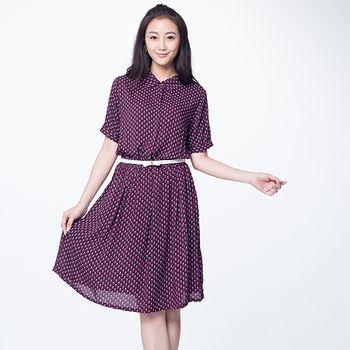 女裝襯衫領洋裝-酒紅底圖形(M~L)