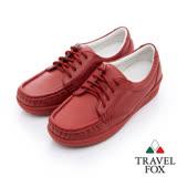 Travel Fox 舒適軟皮帆船鞋-917352-(酒紅-344)(女)