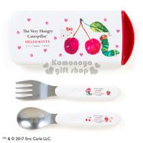 〔小禮堂〕Hello Kitty x 好餓的毛毛蟲  日製滑蓋式餐具組《白.櫻桃》