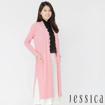 【JESSICA】氣質蕾絲開衩長版罩衫(粉)