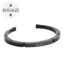 SHUZI™ 黑鋼手鐲  細版 黑 - 美國製造  BC-S09