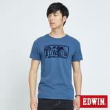 EDWIN  衝浪植絨基本短袖T恤-男-灰藍色
