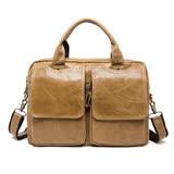手提包真皮牛皮公事包-復古大容量肩背男包包4色73lo5【米蘭精品】