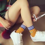 PS Mall  韓版字母印花條紋女士棉運動短筒襪 棉襪【J796】