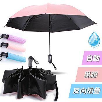 買達人 8骨黑膠粉彩自動摺疊反向傘 (2入)