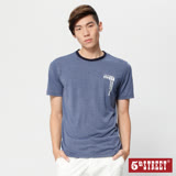 5th STREET 基本植絨印花短袖T恤-男-灰藍色