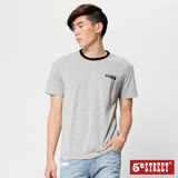 5th STREET 基本植絨印花短袖T恤-男-麻灰色