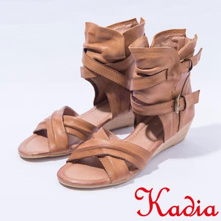 kadia.交叉線條羅馬涼鞋(7113-71咖啡 )