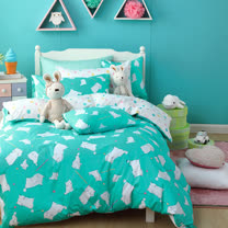 OLIVIA 《 湯姆貓 綠 》 雙人床包枕套三件組 童趣系列
